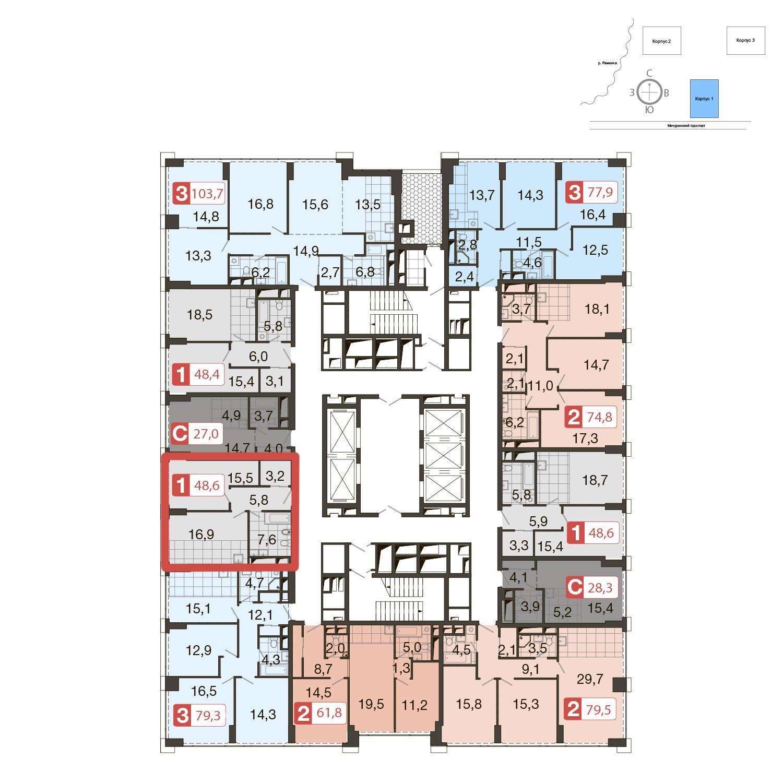 Продаётся 1-комнатная квартира в новостройке 48.6 кв.м. этаж 35/51 за 16 525 620 руб