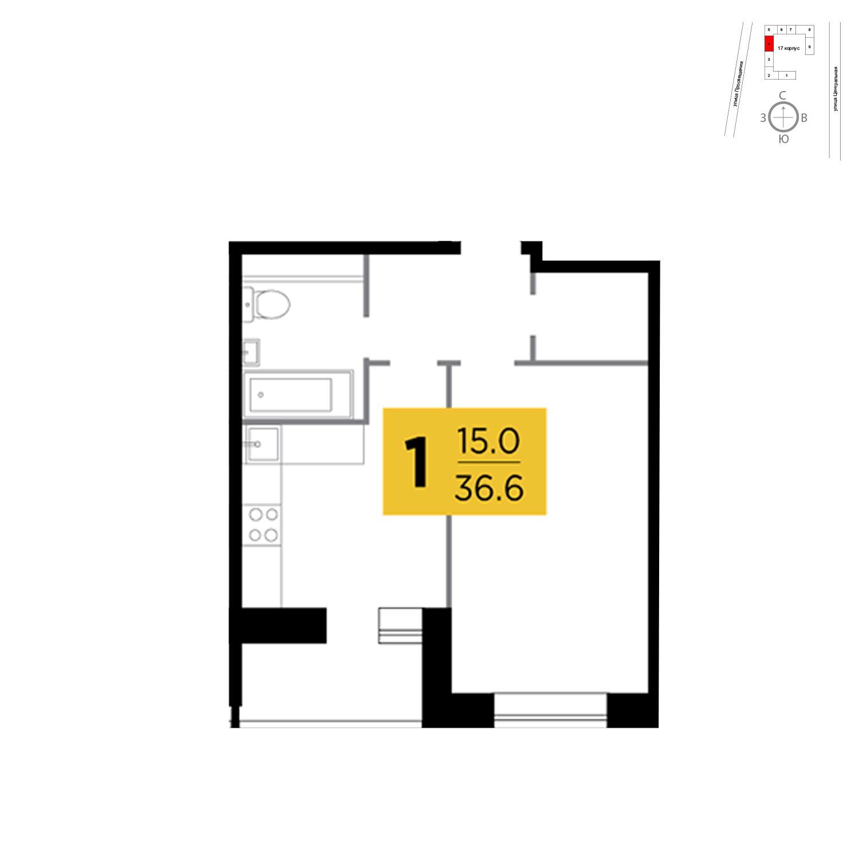 Продаётся 1-комнатная квартира в новостройке 36.6 кв.м. этаж 9/16 за 5 524 614 руб