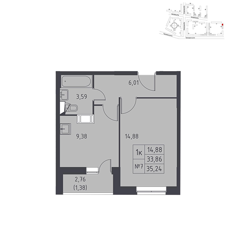 Продаётся 1-комнатная квартира в новостройке 35.2 кв.м. этаж 17/17 за 3 640 891 руб