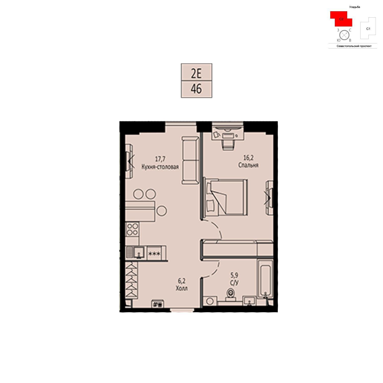 Продаётся  квартира-студия 46.0 кв.м. этаж 39/42 за 18 110 200 руб