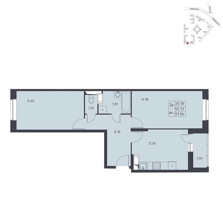 Продаётся 2-комнатная квартира в новостройке 57.1 кв.м. этаж 17/17 за 5 058 540 руб