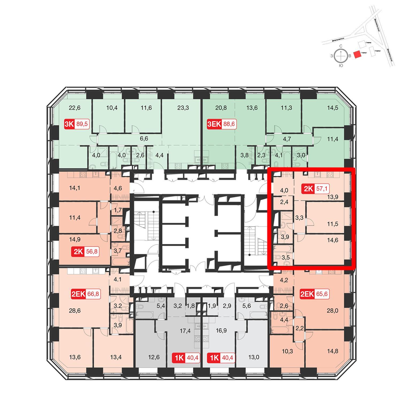 Продаётся 2-комнатная квартира в новостройке 57.6 кв.м. этаж 42/58 за 19 451 520 руб