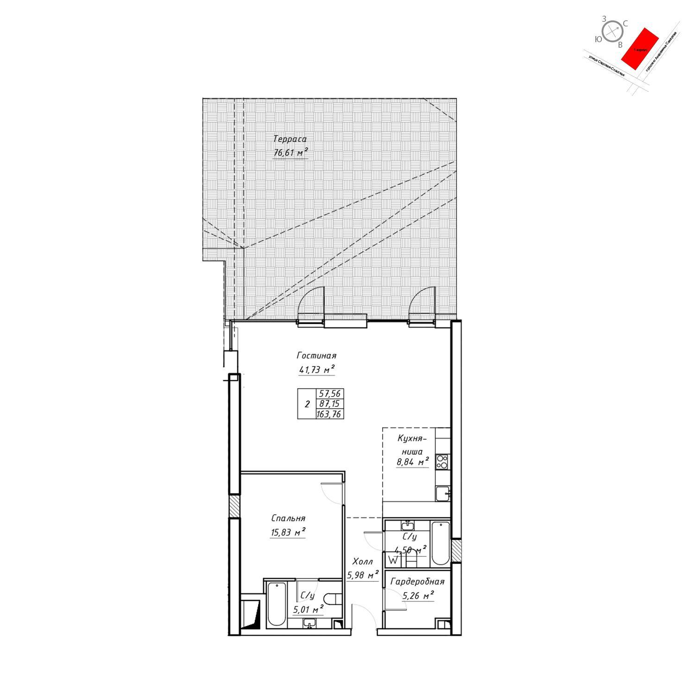 Продаётся  квартира-студия 162.1 кв.м. этаж 4/19 за 58 363 200 руб