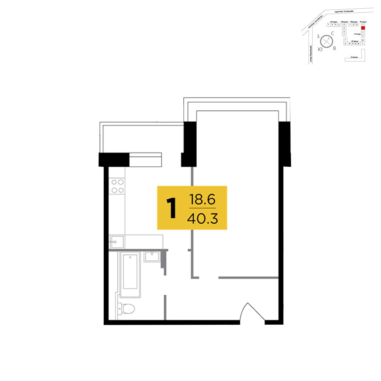 Продаётся 1-комнатная квартира в новостройке 40.3 кв.м. этаж 6/17 за 6 254 376 руб