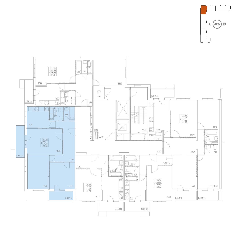 Продаётся 3-комнатная квартира в новостройке 71.7 кв.м. этаж 24/25 за 11 056 318 руб