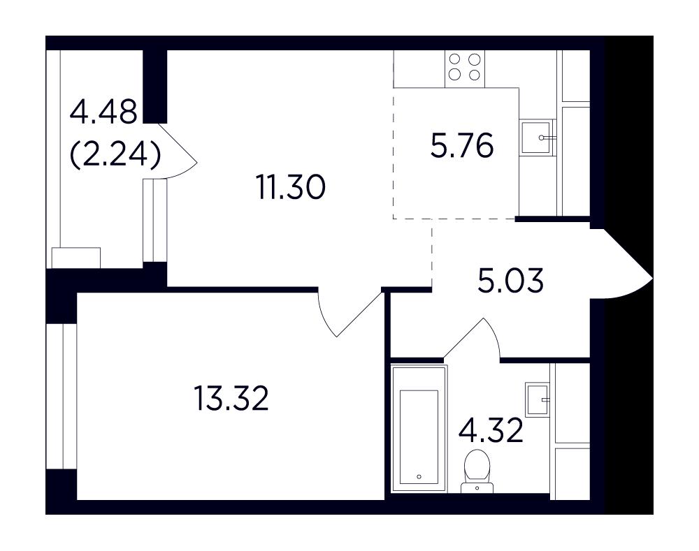 Продаётся 2-комнатная квартира в новостройке 42.0 кв.м. этаж 22/25 за 8 772 863 руб