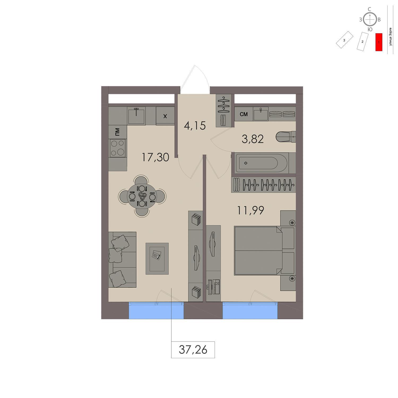 Продаётся 1-комнатная квартира в новостройке 37.3 кв.м. этаж 17/21 за 10 228 300 руб
