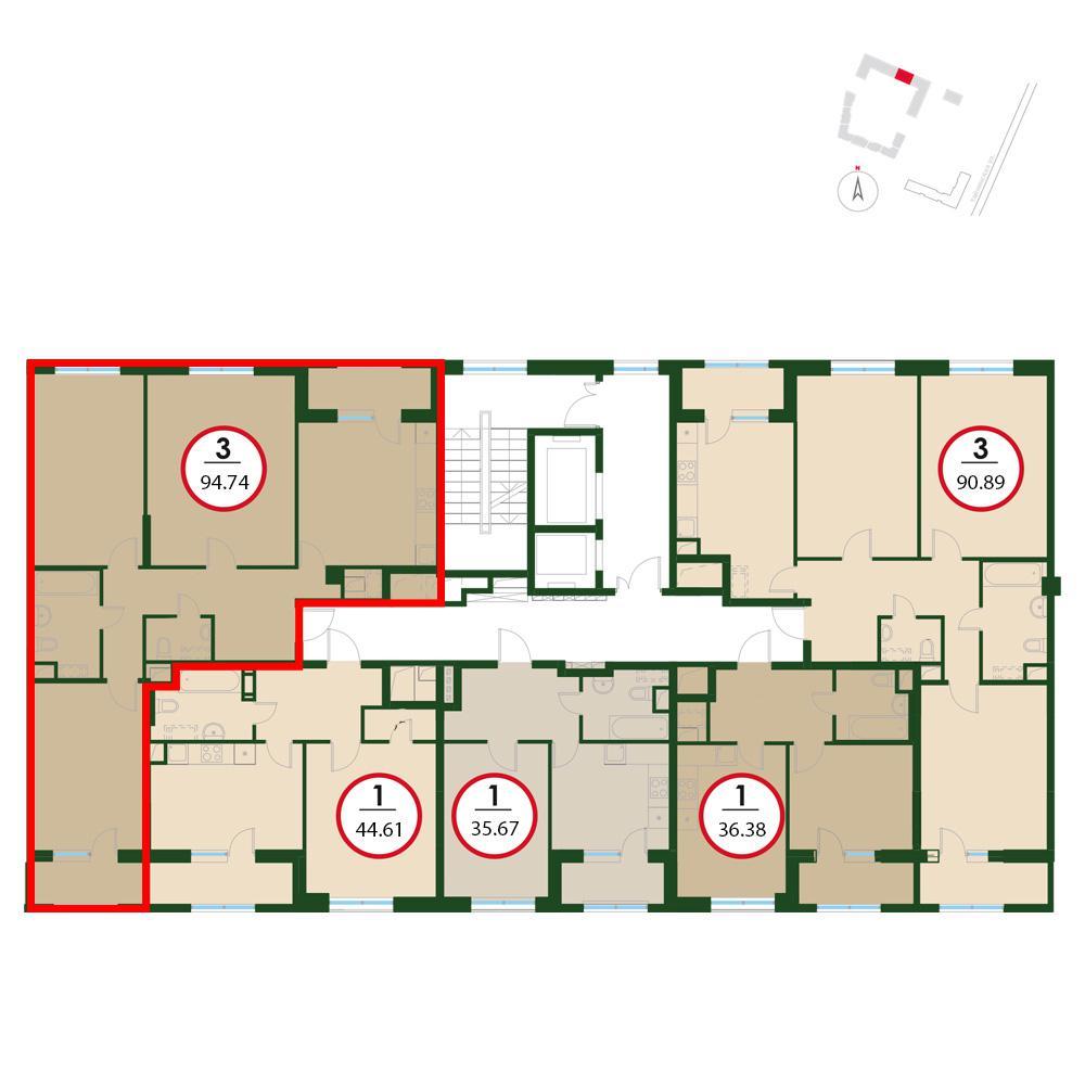 Продаётся 3-комнатная квартира в новостройке 94.8 кв.м. этаж 17/24 за 20 299 440 руб