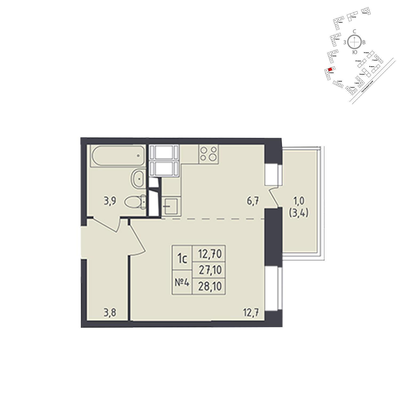 Продаётся 1-комнатная квартира в новостройке 28.1 кв.м. этаж 17/25 за 5 751 396 руб
