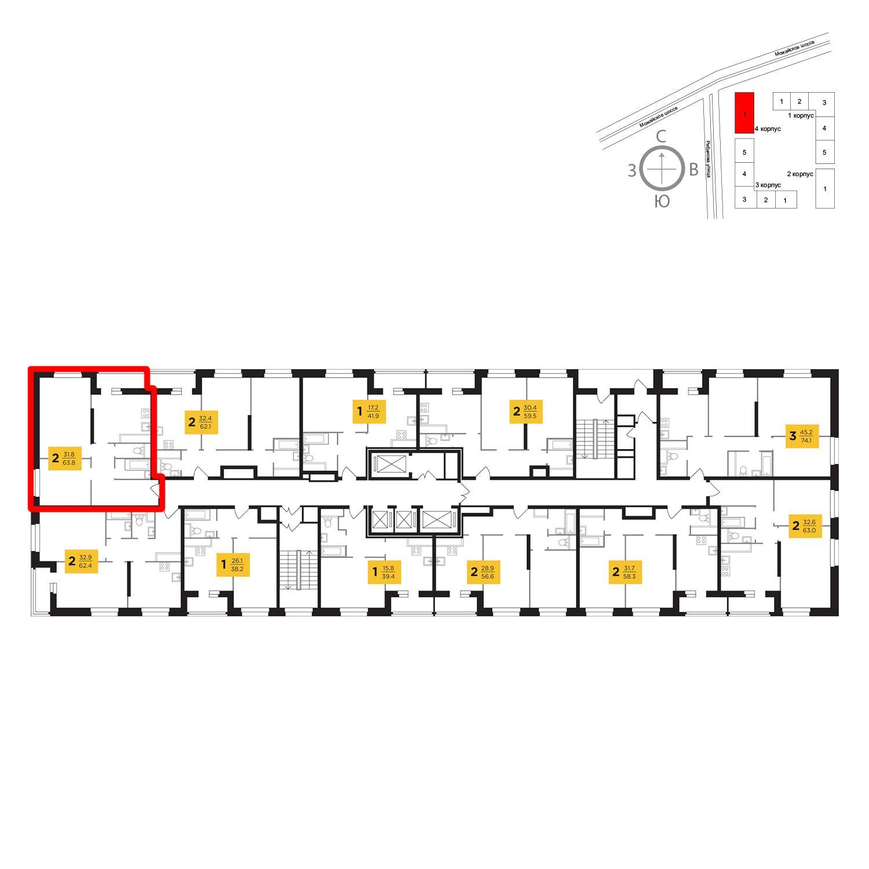 Продаётся 2-комнатная квартира в новостройке 63.8 кв.м. этаж 19/23 за 12 554 686 руб