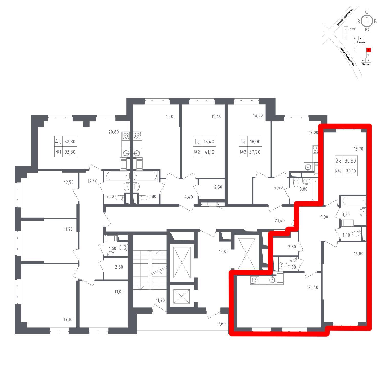 Продаётся 2-комнатная квартира в новостройке 70.1 кв.м. этаж 8/23 за 7 780 258 руб