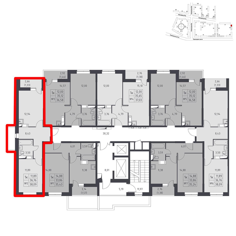 Продаётся 1-комнатная квартира в новостройке 38.1 кв.м. этаж 14/17 за 3 619 113 руб