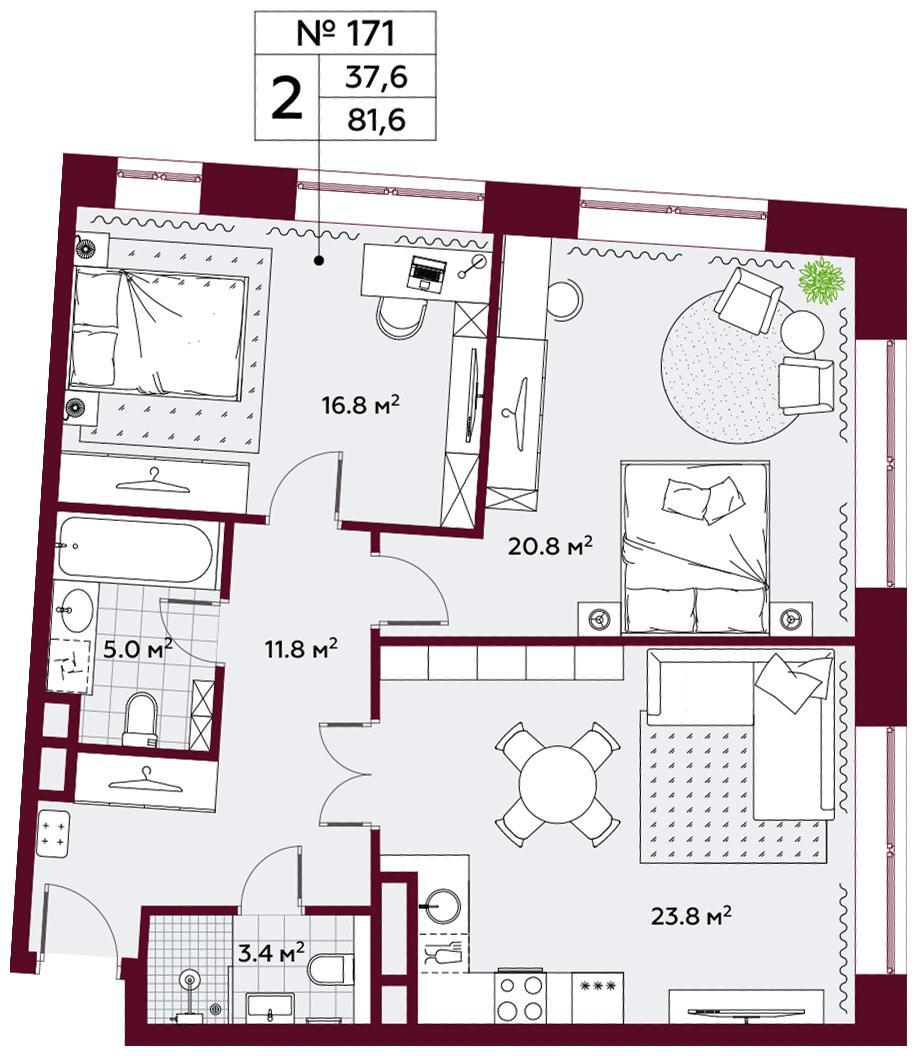 Продаётся 2-комнатная квартира в новостройке 81.6 кв.м. этаж 6/10 за 31 212 000 руб