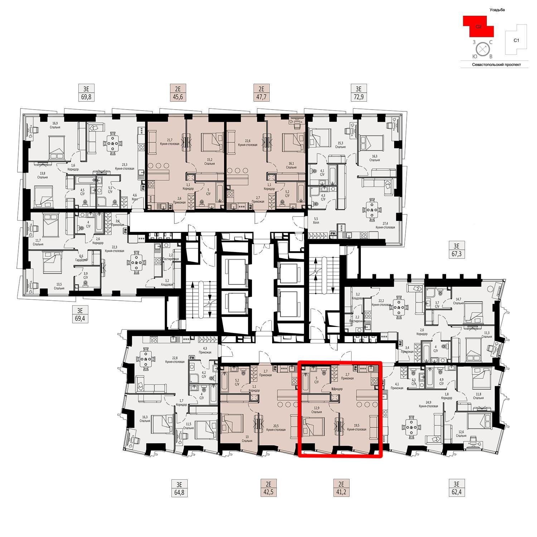 Продаётся  квартира-студия 41.2 кв.м. этаж 5/42 за 14 510 640 руб