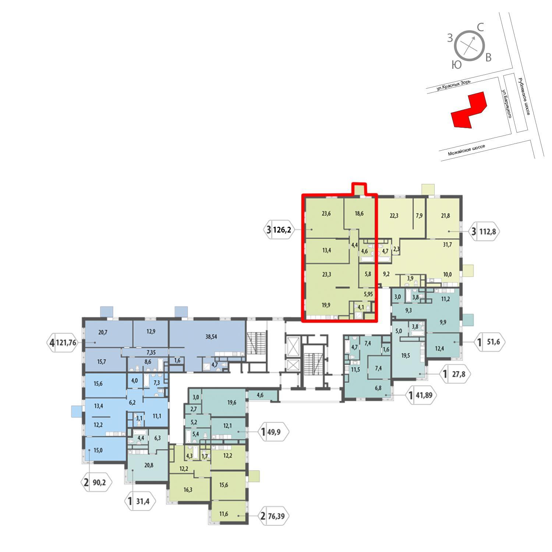 Продаётся 3-комнатная квартира в новостройке 126.2 кв.м. этаж 6/12 за 26 851 063 руб