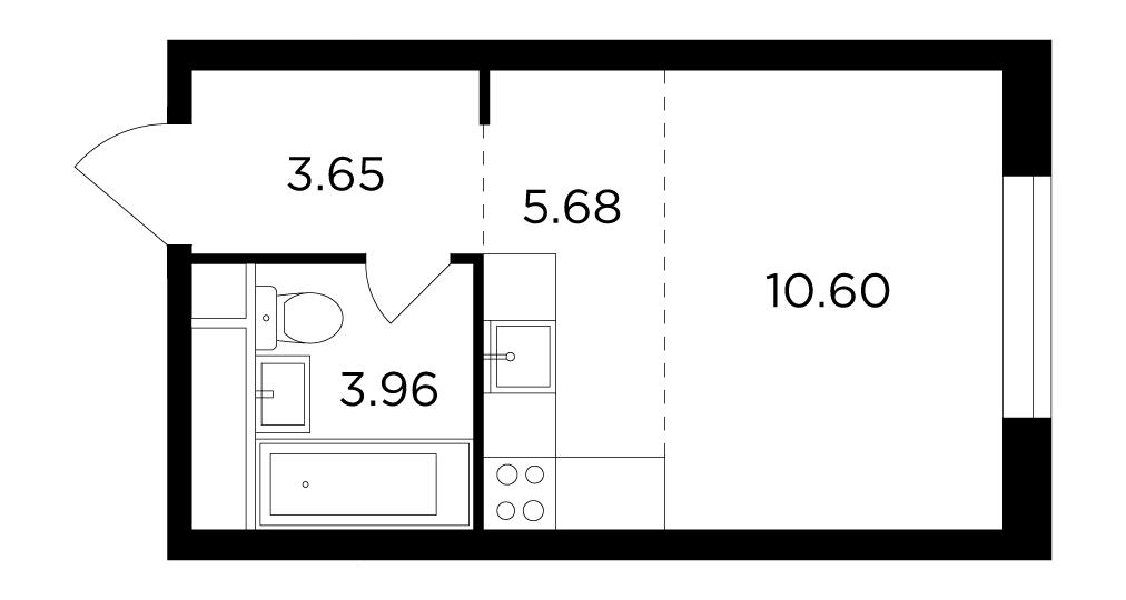 Продаётся  квартира-студия 23.9 кв.м. этаж 8/29 за 10 076 819 руб