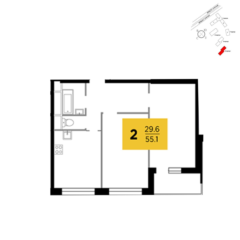 Продаётся 2-комнатная квартира в новостройке 55.1 кв.м. этаж 19/24 за 10 066 384 руб