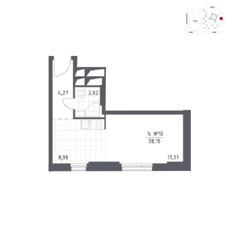 Продаётся 1-комнатная квартира в новостройке 28.2 кв.м. этаж 13/31 за 4 601 540 руб