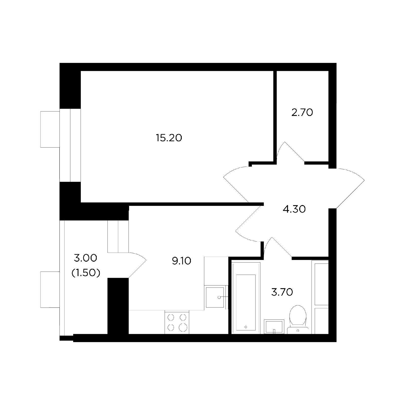 Продаётся 1-комнатная квартира в новостройке 36.5 кв.м. этаж 2/14 за 4 693 452 руб