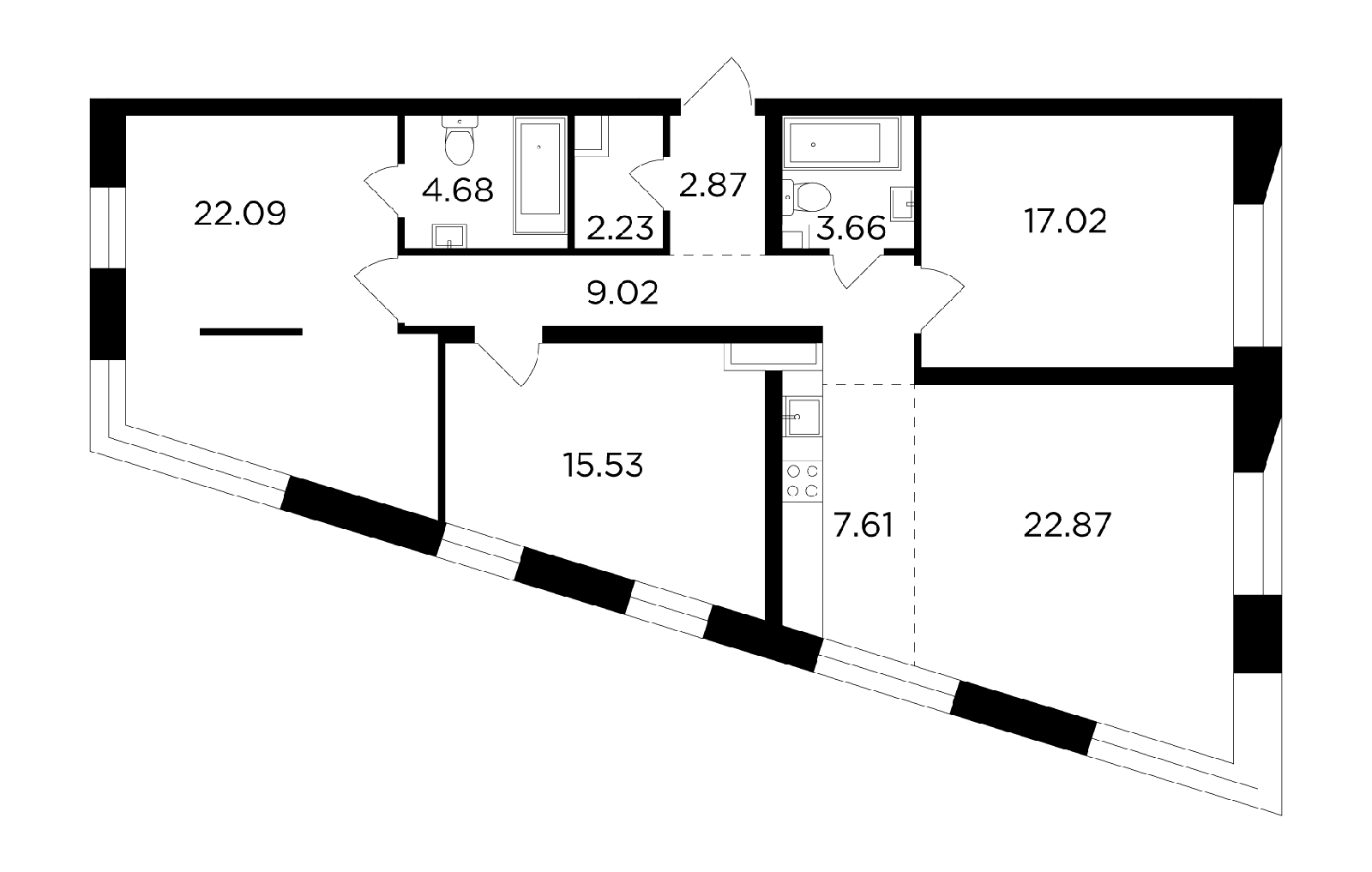 Продаётся 4-комнатная квартира в новостройке 107.6 кв.м. этаж 6/16 за 41 551 073 руб