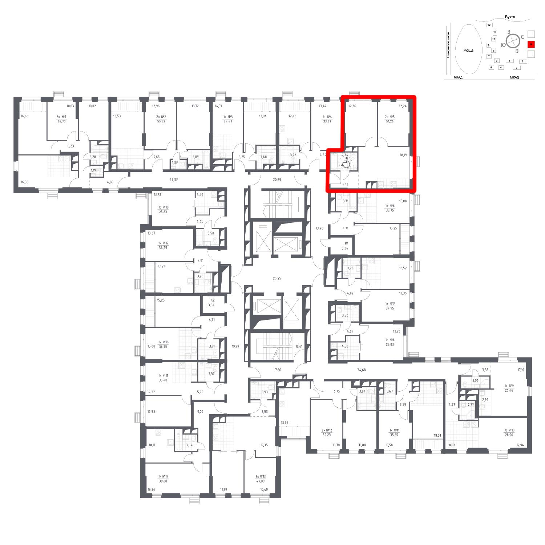 Продаётся 2-комнатная квартира в новостройке 51.3 кв.м. этаж 9/31 за 6 657 341 руб