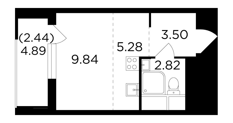 Продаётся 1-комнатная квартира в новостройке 23.9 кв.м. этаж 9/24 за 5 798 405 руб