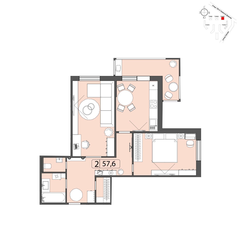 Продаётся 2-комнатная квартира в новостройке 57.6 кв.м. этаж 22/22 за 0 руб