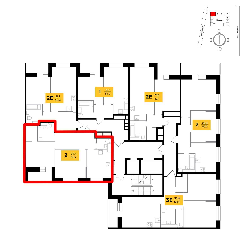 Продаётся 2-комнатная квартира в новостройке 53.7 кв.м. этаж 11/16 за 6 638 716 руб