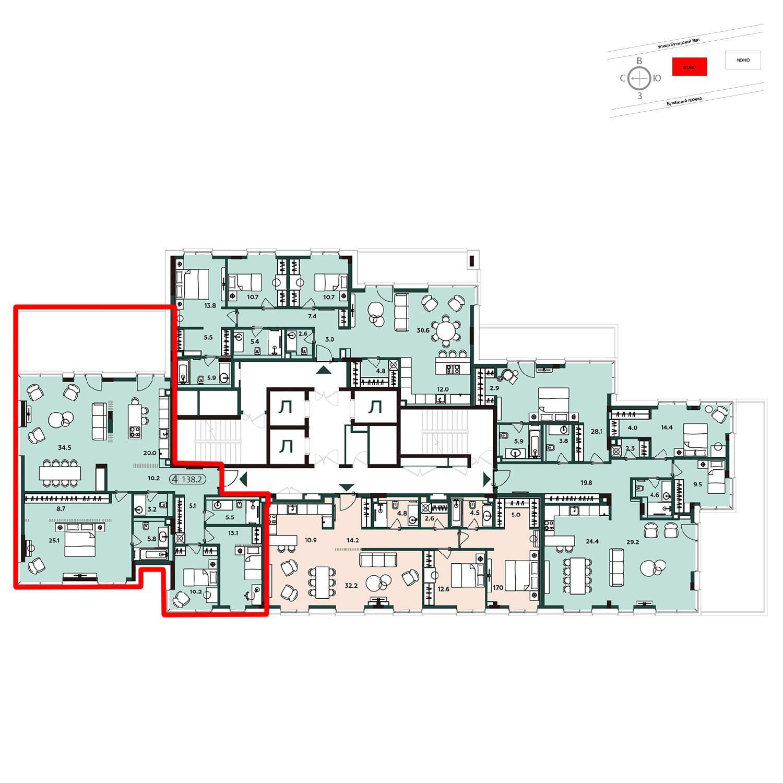 Продаётся 4-комнатная квартира в новостройке 141.4 кв.м. этаж 18/20 за 60 673 000 руб