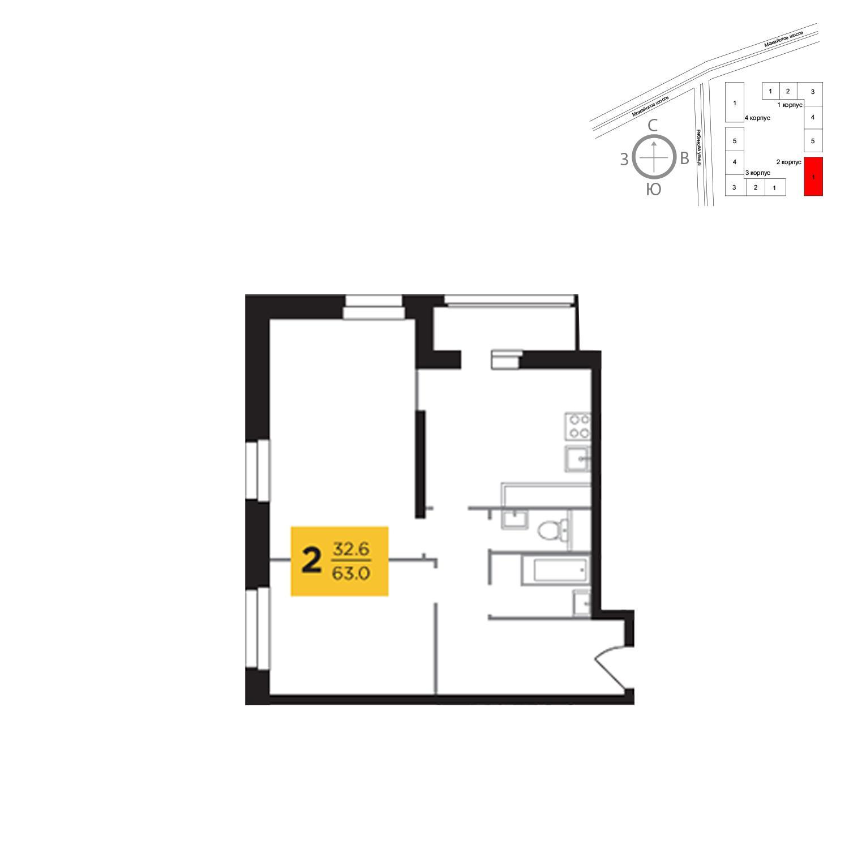 Продаётся 2-комнатная квартира в новостройке 63.0 кв.м. этаж 9/23 за 14 333 035 руб