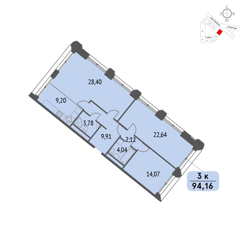 Продаётся 3-комнатная квартира в новостройке 94.2 кв.м. этаж 3/32 за 23 540 000 руб
