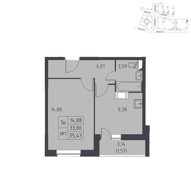 Продаётся 1-комнатная квартира в новостройке 35.4 кв.м. этаж 16/17 за 3 561 530 руб
