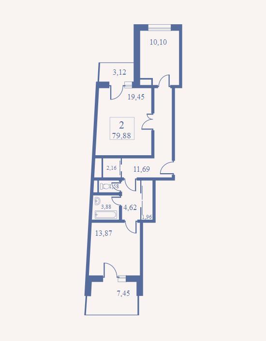 Продаётся 2-комнатная квартира в новостройке 84.3 кв.м. этаж 14/29 за 10 553 517 руб