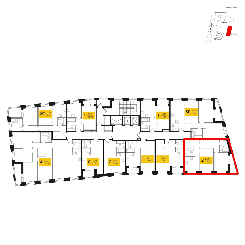 Продаётся 2-комнатная квартира в новостройке 59.7 кв.м. этаж 8/27 за 11 821 108 руб