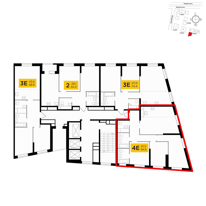 Продаётся 4-комнатная квартира в новостройке 95.3 кв.м. этаж 5/30 за 23 357 512 руб