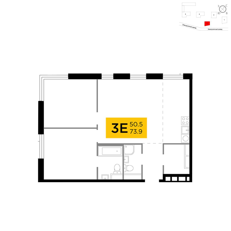 Продаётся 3-комнатная квартира в новостройке 73.9 кв.м. этаж 8/26 за 24 951 802 руб
