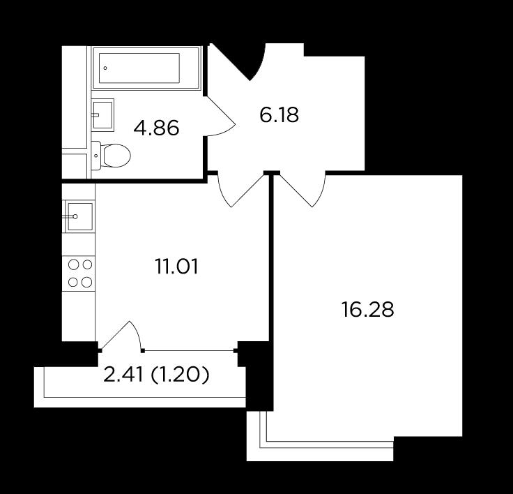 Продаётся 1-комнатная квартира в новостройке 39.5 кв.м. этаж 27/29 за 18 805 164 руб