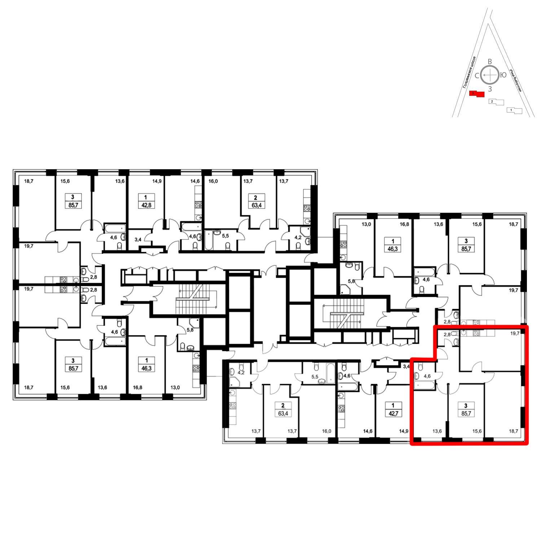 Продаётся 3-комнатная квартира в новостройке 85.6 кв.м. этаж 15/36 за 18 095 840 руб