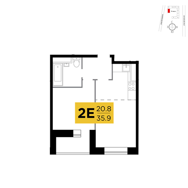 Продаётся 2-комнатная квартира в новостройке 35.9 кв.м. этаж 7/16 за 2 785 481 руб