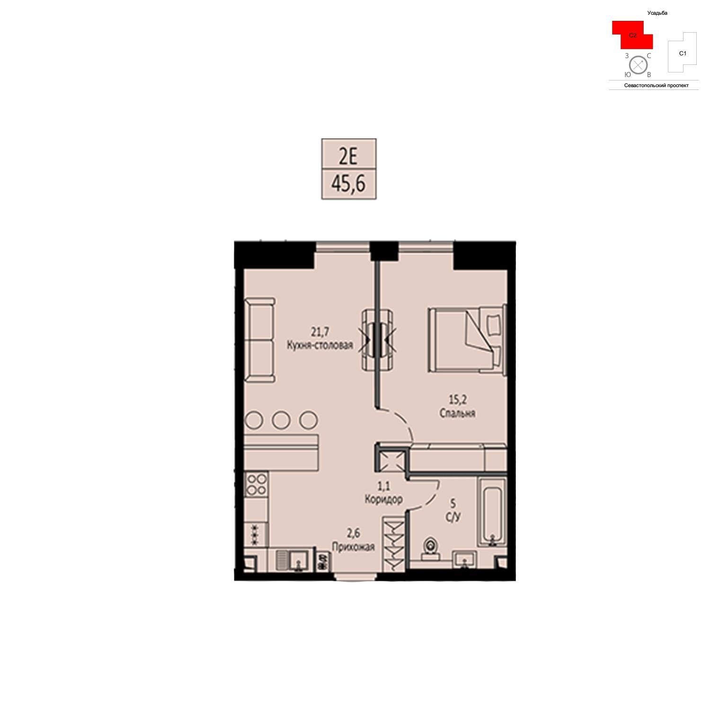 Продаётся  квартира-студия 45.6 кв.м. этаж 5/42 за 16 580 160 руб