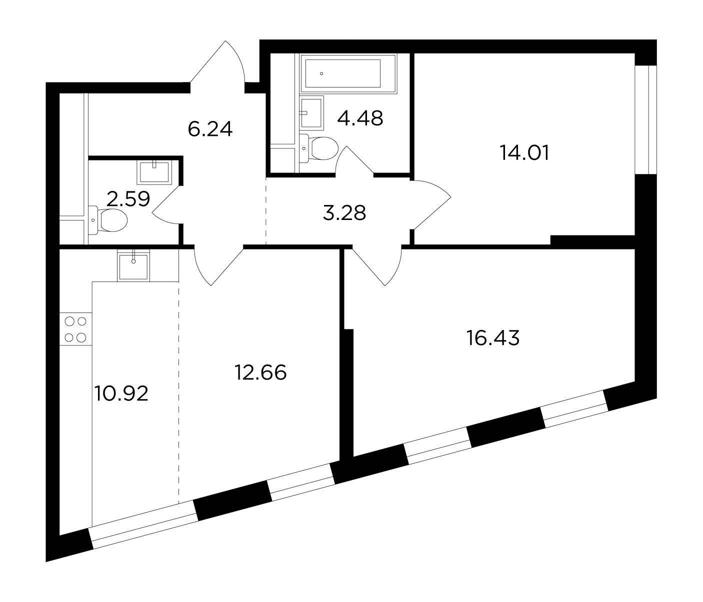 Продаётся 3-комнатная квартира в новостройке 70.6 кв.м. этаж 2/29 за 22 025 335 руб