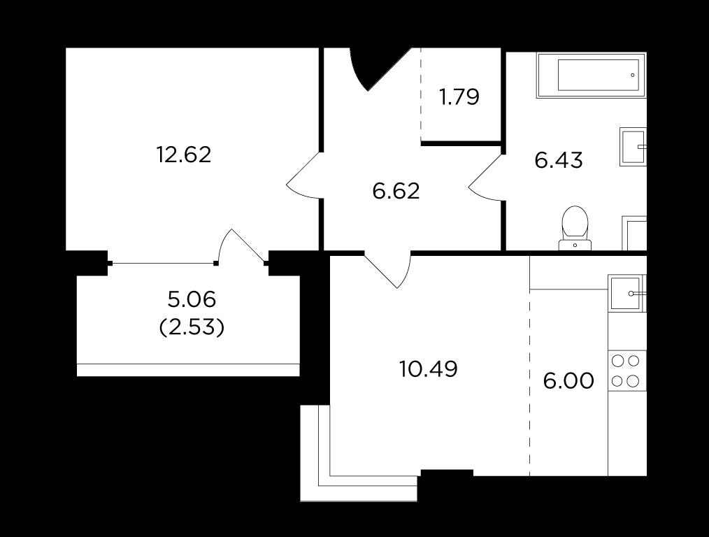 Продаётся 2-комнатная квартира в новостройке 46.5 кв.м. этаж 2/29 за 14 270 986 руб