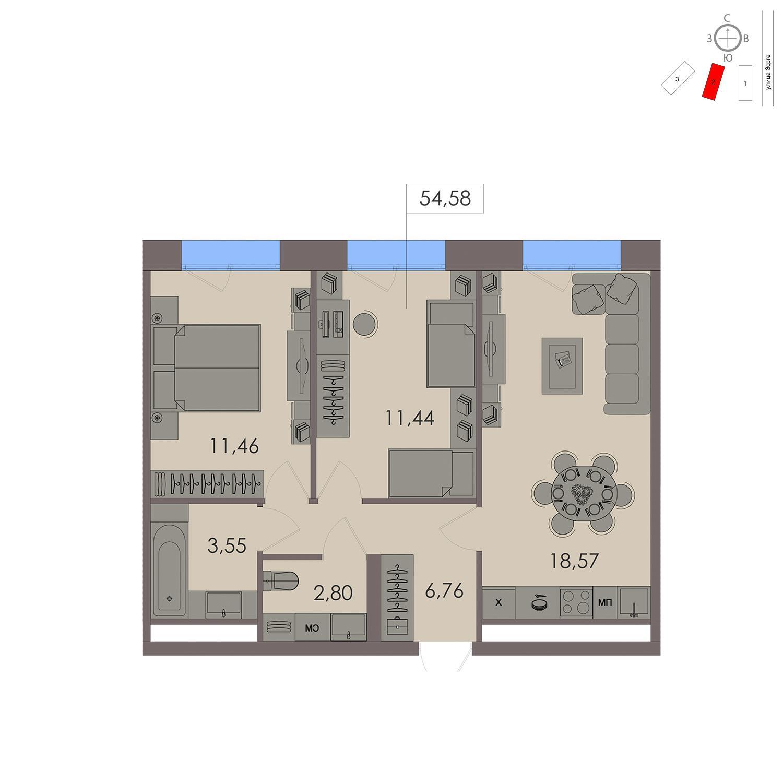 Продаётся 1-комнатная квартира в новостройке 37.1 кв.м. этаж 19/21 за 15 406 400 руб