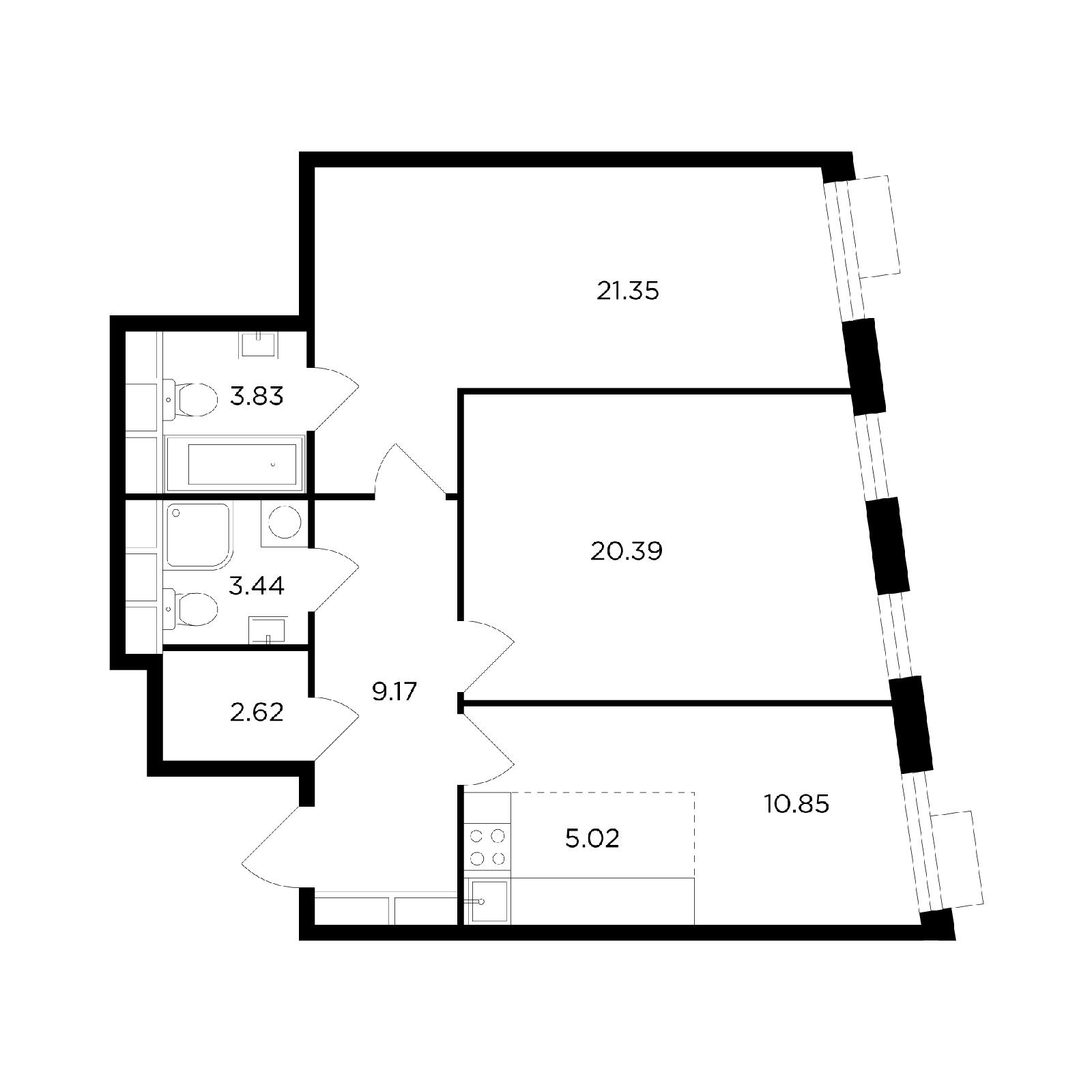 Продаётся 3-комнатная квартира в новостройке 76.7 кв.м. этаж 21/26 за 25 858 677 руб