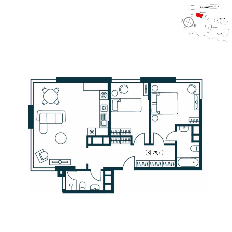 Продаётся 3-комнатная квартира в новостройке 79.7 кв.м. этаж 1/14 за 18 364 426 руб