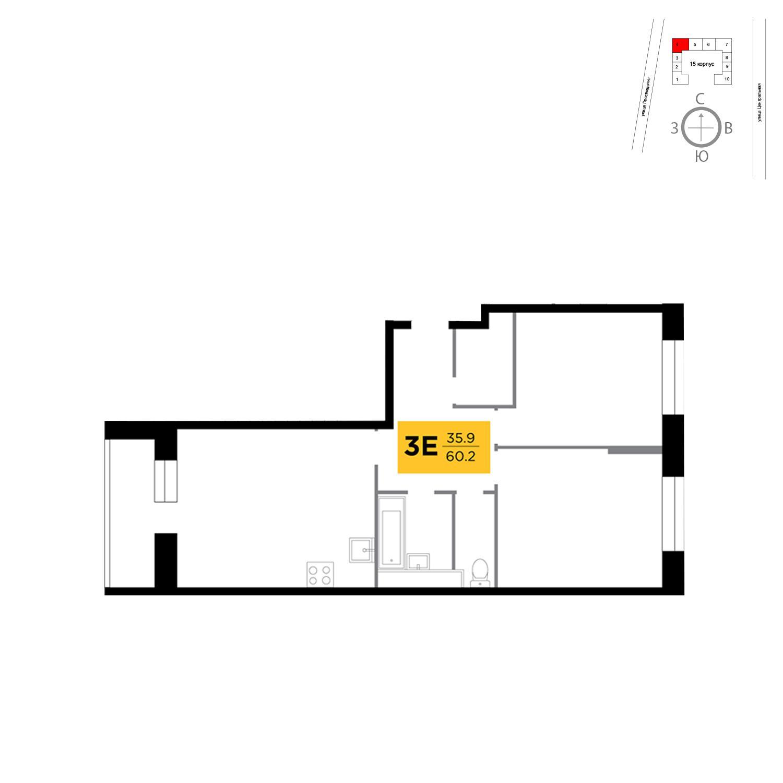 Продаётся 3-комнатная квартира в новостройке 60.2 кв.м. этаж 3/16 за 7 189 144 руб