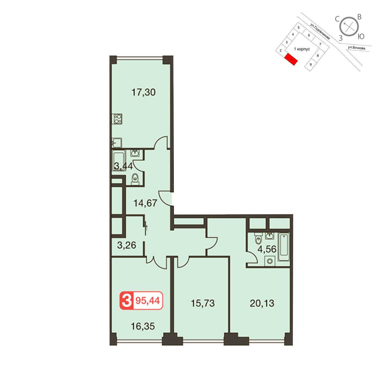 Продаётся 3-комнатная квартира в новостройке 95.4 кв.м. этаж 24/35 за 26 829 000 руб
