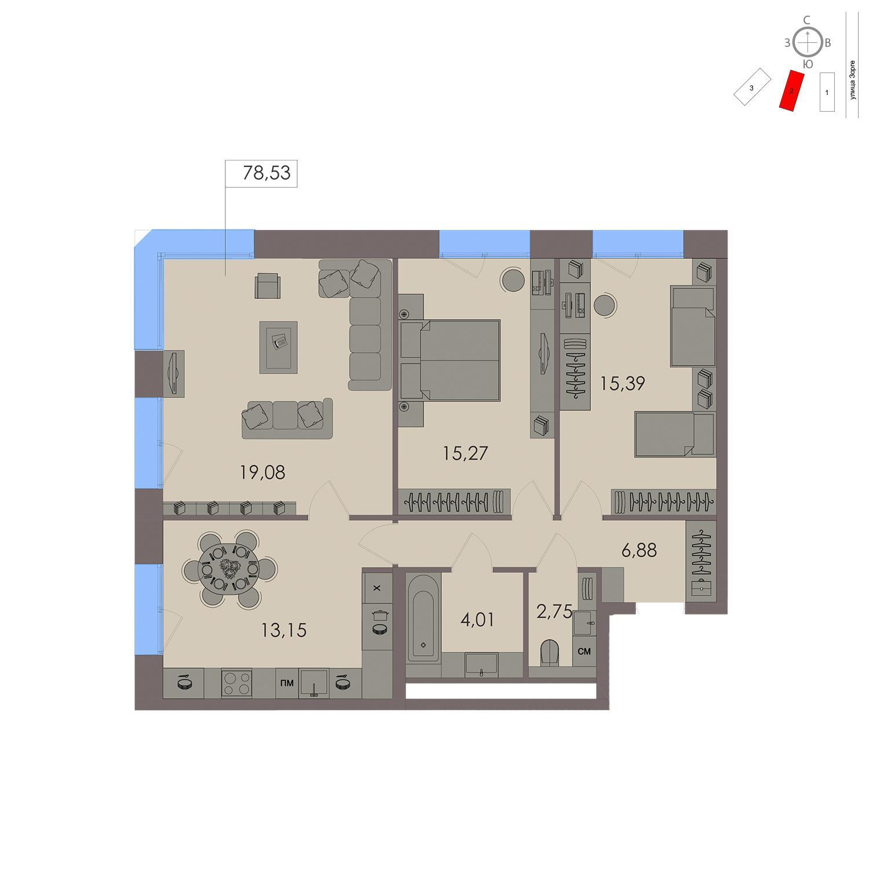 Продаётся 3-комнатная квартира в новостройке 76.5 кв.м. этаж 6/21 за 16 675 600 руб