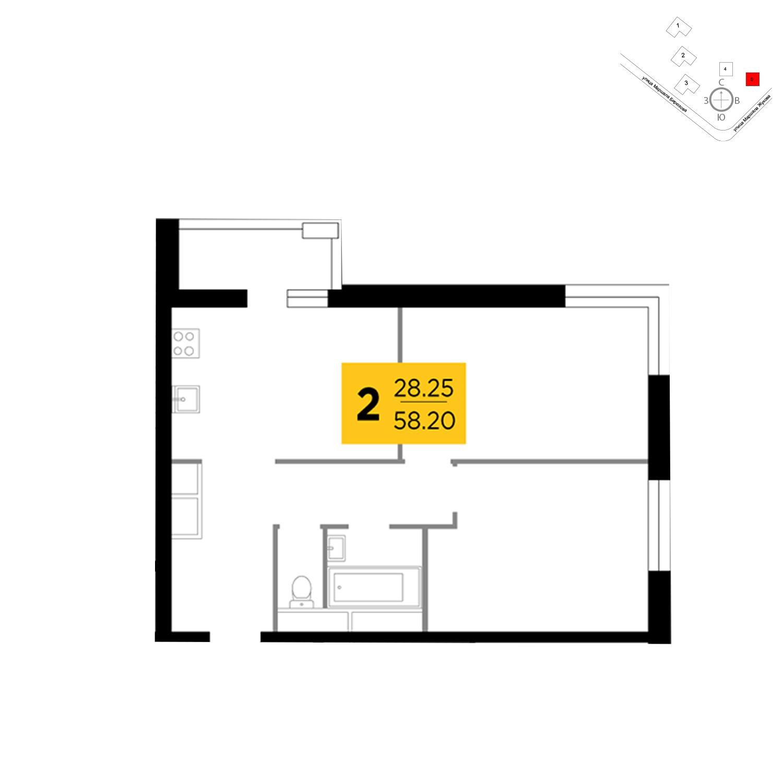 Продаётся 2-комнатная квартира в новостройке 58.2 кв.м. этаж 3/25 за 11 229 224 руб
