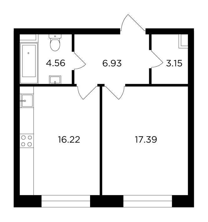Продаётся 1-комнатная квартира в новостройке 48.3 кв.м. этаж 3/16 за 18 206 990 руб